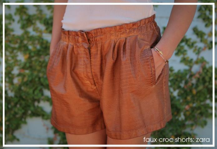 Zara Faux Croc Shorts