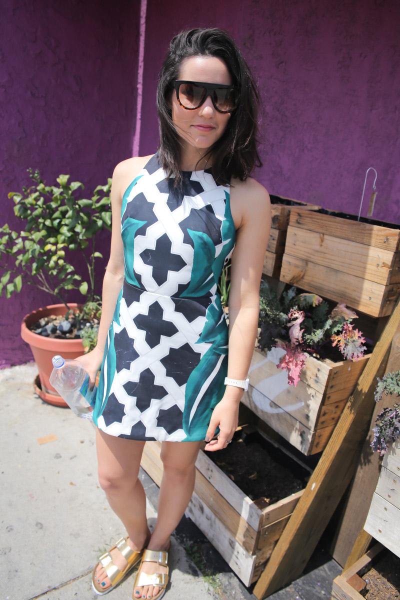 cameo palm print dress gold birkenstocks chloe sunglasses-12