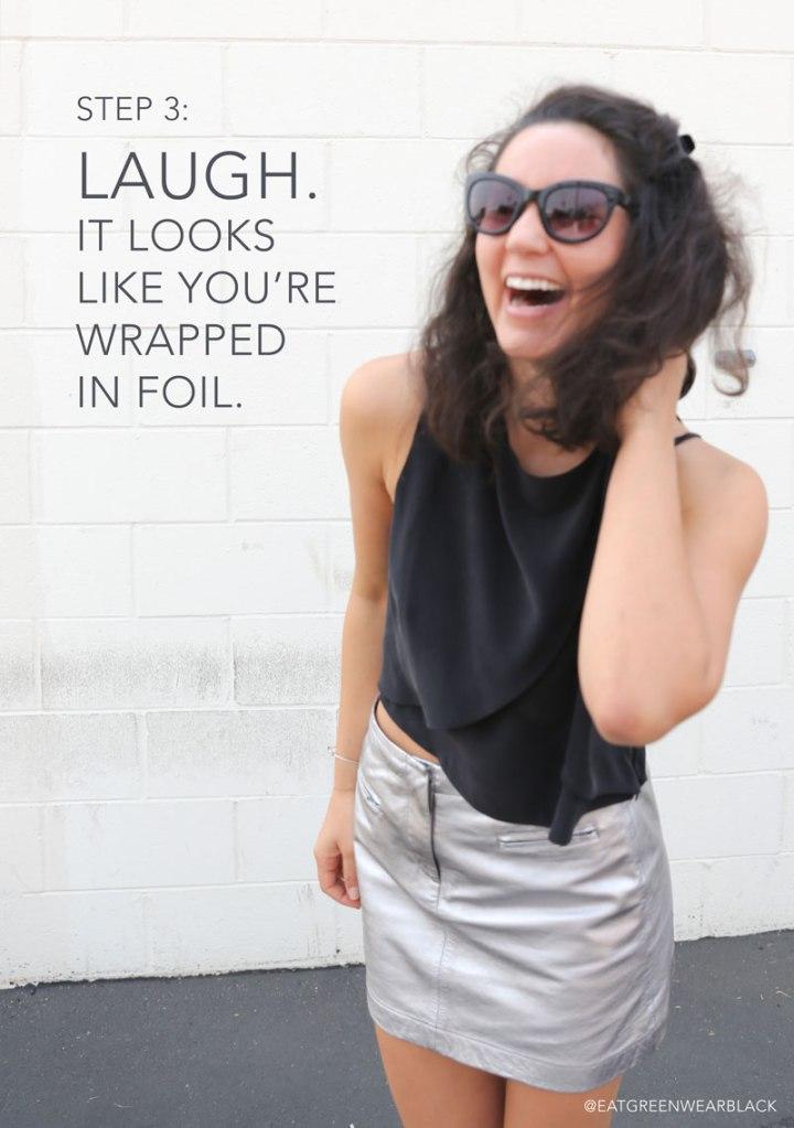 how-to-wear-metallic-mini-skirt